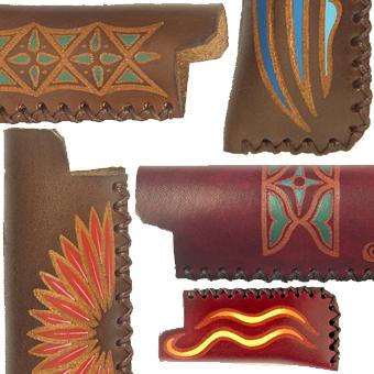 portaccendini cuoio lavorato e decorato a mano