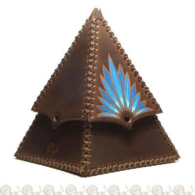 cofanetto cuoio piramide fiore