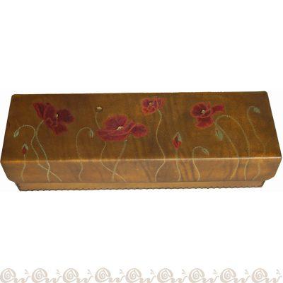 cofanetto cuoio scatola papaveri