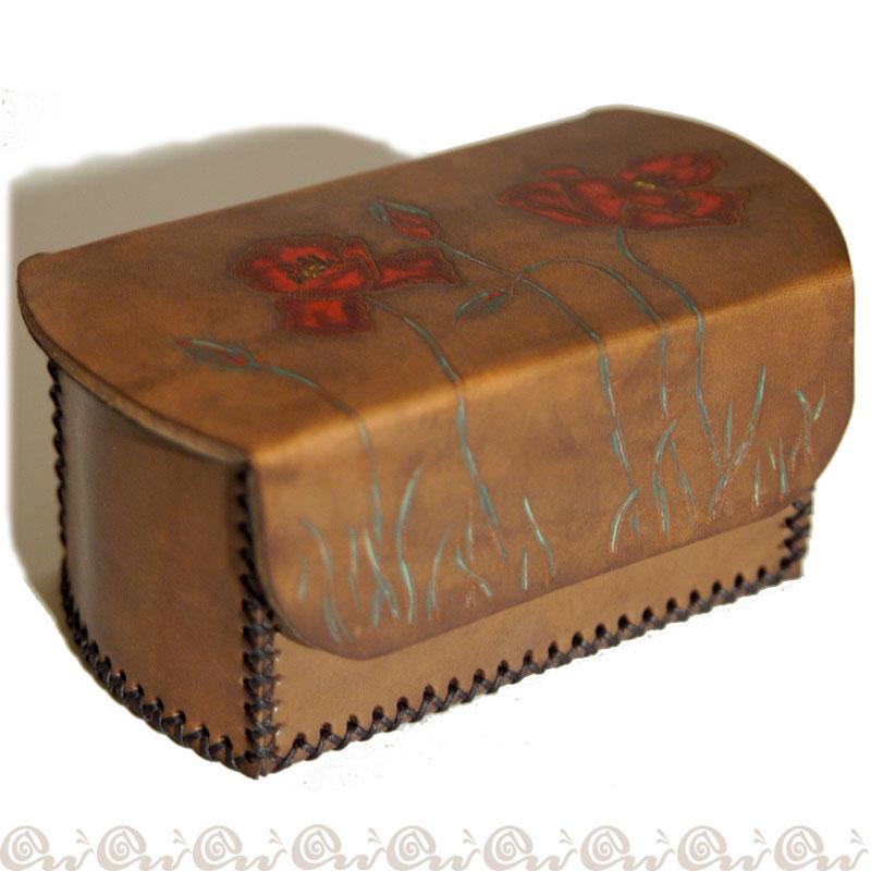 Cofanetto scatola cuoio Papaveri