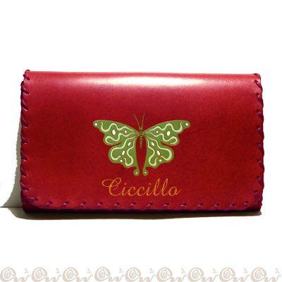 portatabacco personalizzato cuoio farfalla