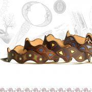 bracciale onda in cuoio decorato