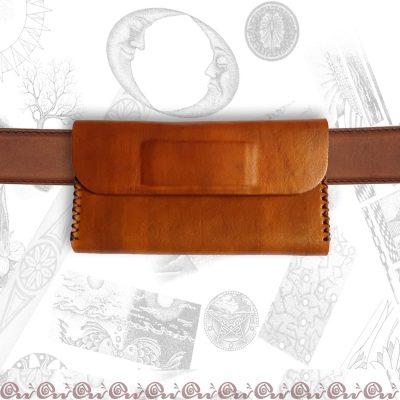 portatabacco da cintura in cuoio chiuso